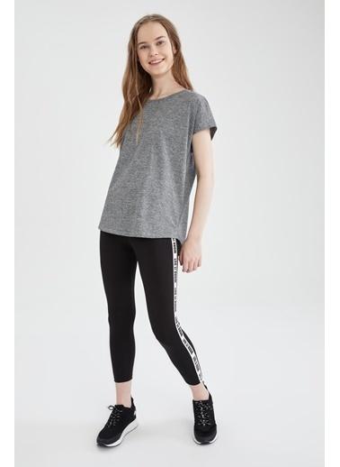 DeFacto Relax Fit Basic Kısa Kol T-shirt Antrasit